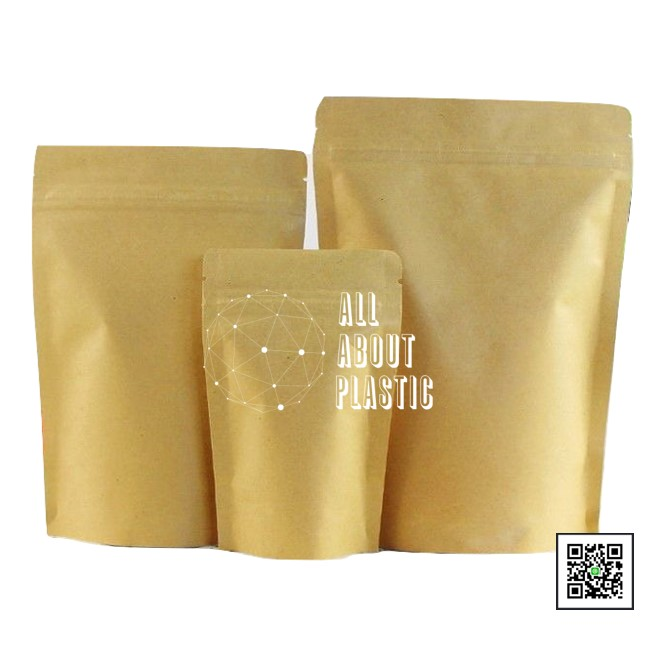 Clear-Gold Flat Pouch Plastic Zip Lock Packaging Bag